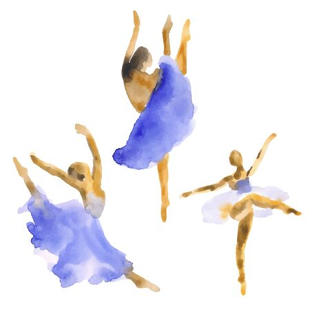 Hand-drawn watercolor illustration: set of dancing ballerinas. Vector
