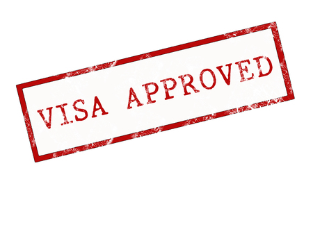 visa approved: stamp word Visa approved in red over white background