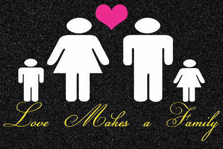black family: Love Makes a Family sign on black background