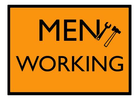 yellow beware: Men working sign Stock Photo