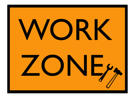 in the zone: work zone sign Stock Photo