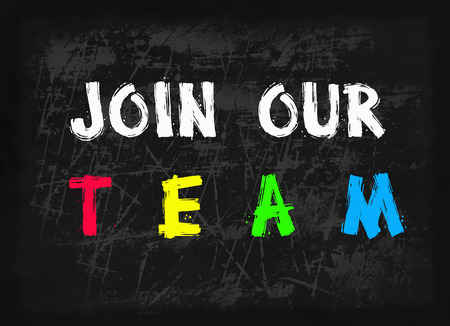 our: Join our team word on blackboard Stock Photo