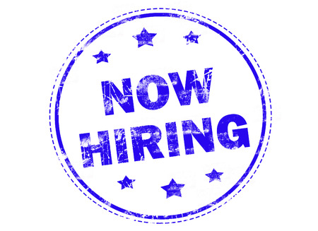 now hiring: Now hiring on blue grunge rubber stamp