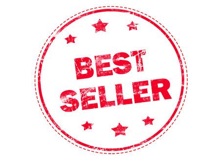 rubberstamp: Best seller on red grunge rubber stamp