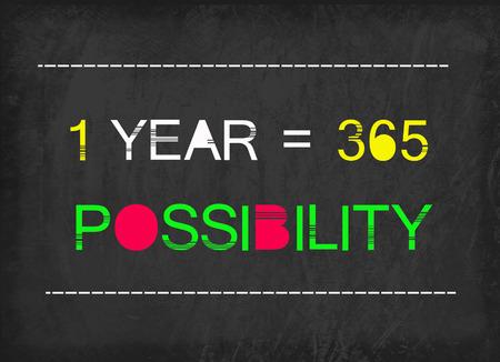 1 year: 1 year  365 possibility word on blackboard