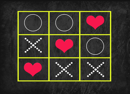 x games: ox game with heart on blackboard