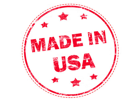 manufactured: Grunge rubber stamp with text - Made in USA
