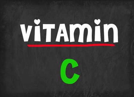 vitamin a: Vitamin C on blackboard