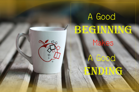 ending: A good beginning makes a good ending word Stock Photo