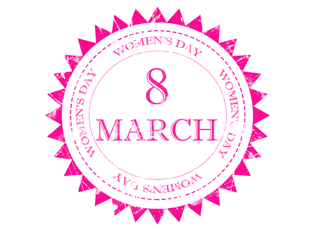 vintage grunge: 8 March womens day on pink grunge rubber stamp