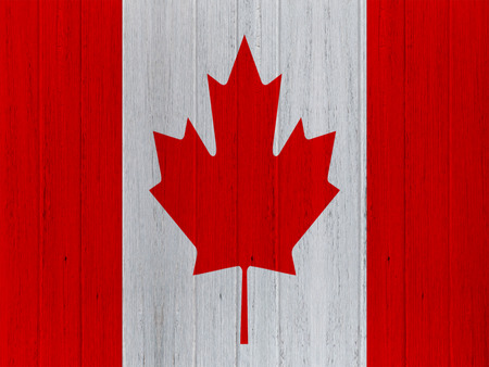 canadian flag: canadian flag on wood texture background