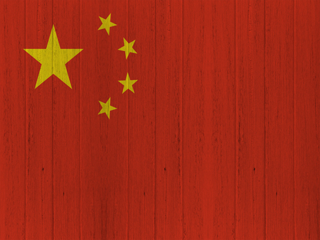 chinese flag: Chinese flag on wood texture background