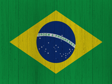 brazilian flag: brazilian flag on wood texture background Stock Photo