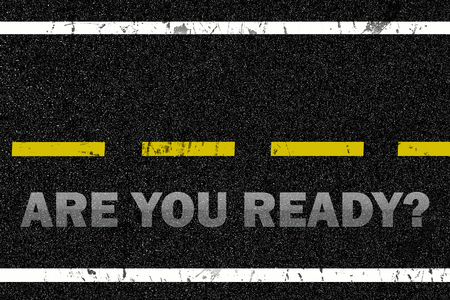 ready logos: Are you ready word on the road background Stock Photo