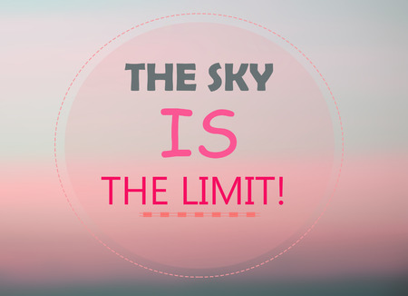 sky is the limit: The sky is the limit word on pink background