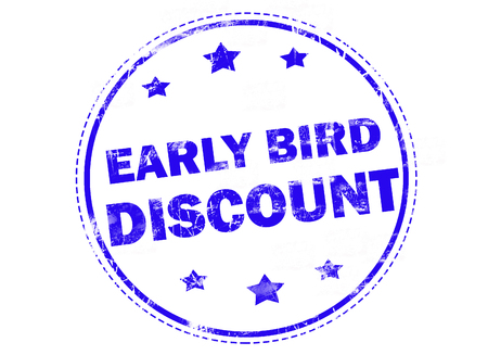 early: Blue grunge rubber stamp with text - early bird discount