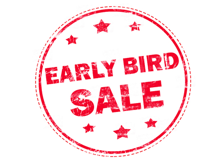 early: Red grunge rubber stamp with text - Early bird sale