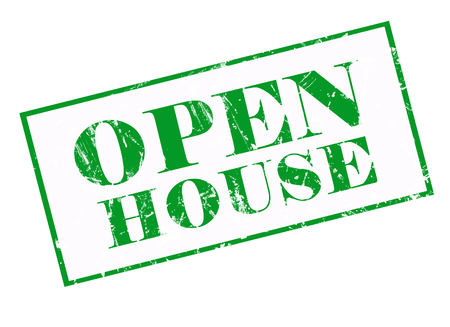 open house: Open house on green grunge rubber stamp