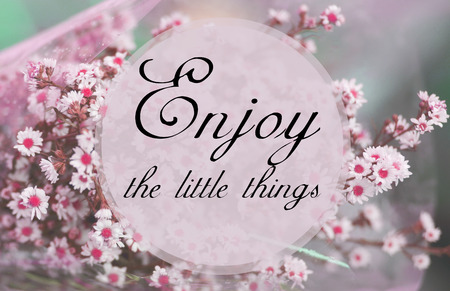 enjoy: Enjoy the little things - word on small flower background