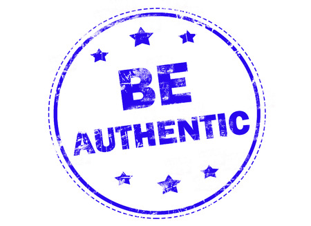 authentic: BE AUTHENTIC on blue grunge rubber stamp