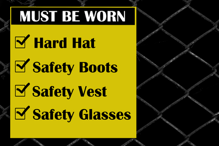 Site safety signs construction site for health and safety Standard-Bild