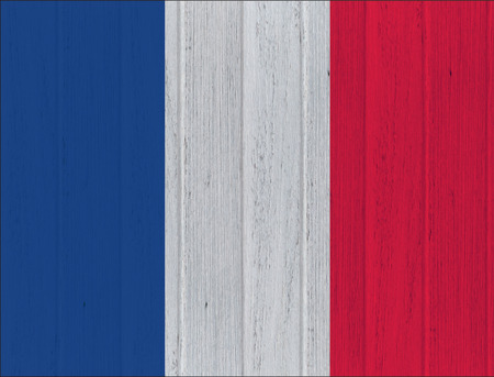 french flag: French flag on wood texture background Stock Photo