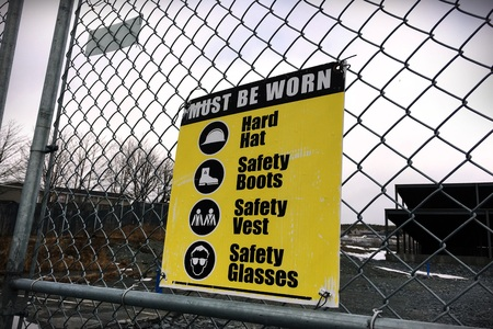 dangerous work: Site safety signs construction site for health and safety Stock Photo