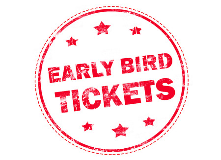 Red grunge rubber stamp with text - Early bird tickets