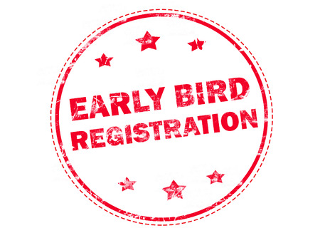 early: Red grunge rubber stamp with text - Early bird registration
