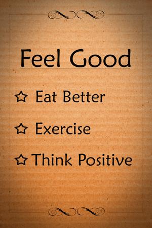 feel feeling: Feel good concept on orange cardboard background