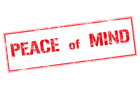 peace of mind: Peace of mind red stamp text on white background