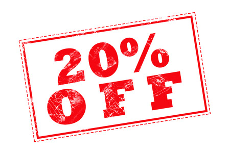 20: 20% OFF red stamp text on white background Stock Photo