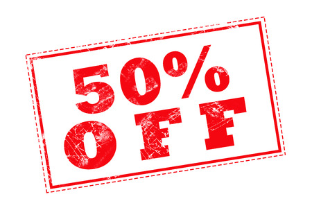50 off: 50% OFF red stamp text on white background