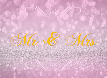 mr and mrs: Mr & Mrs on pink silver glitter abstract background