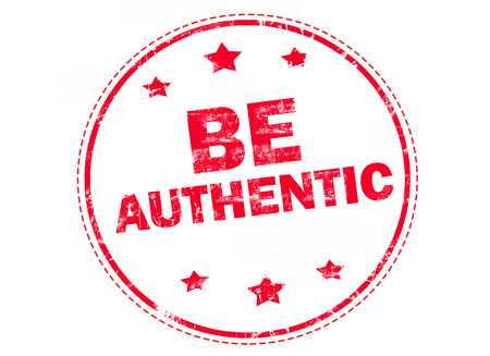 authentic: be authentic on red grunge rubber stamp