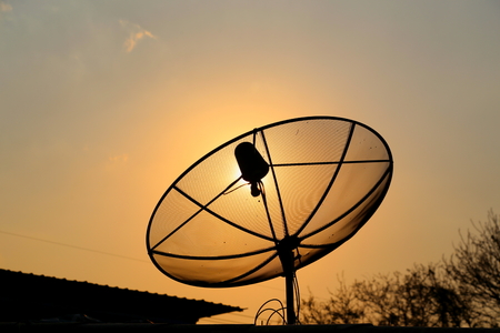 satellite tv: Satellite TV on the roof of rural house in Thailand