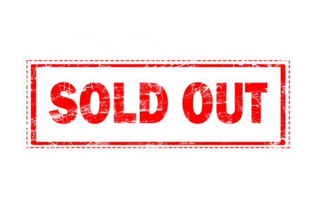 sold: sold out on red grunge rubber stamp