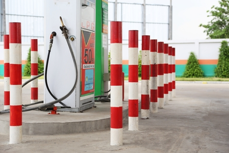 lpg: emergency pillar paint red and white in LPG station