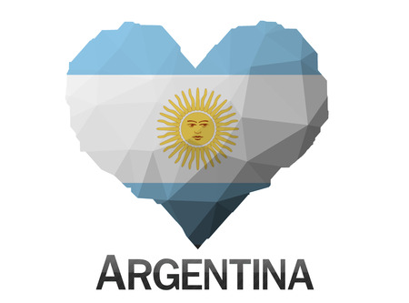argentina flag: Argentina flag in heart of triangles low poly background Stock Photo