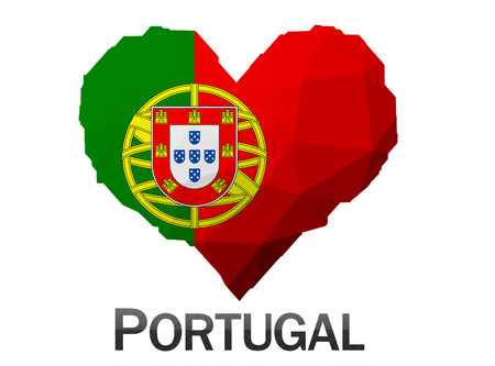 portugal flag: Portugal flag in heart of triangles low poly background