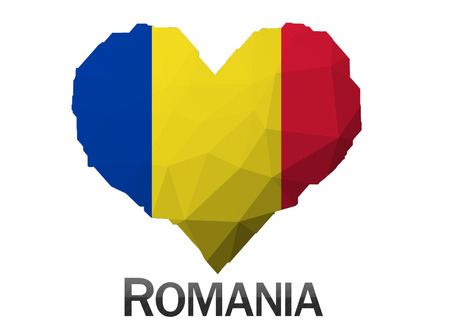 romania flag: Romania flag in heart of triangles low poly background Stock Photo
