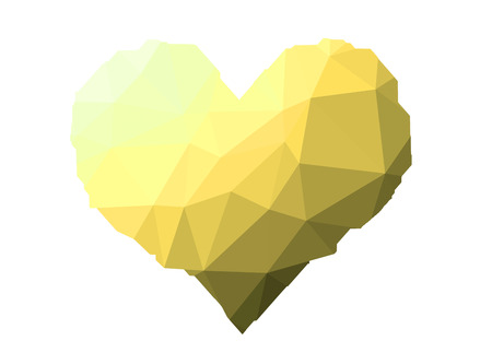 yellow heart: yellow heart on triangles low poly