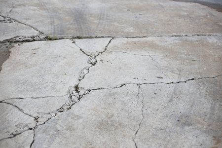 or shatter: cracked cement floor Stock Photo