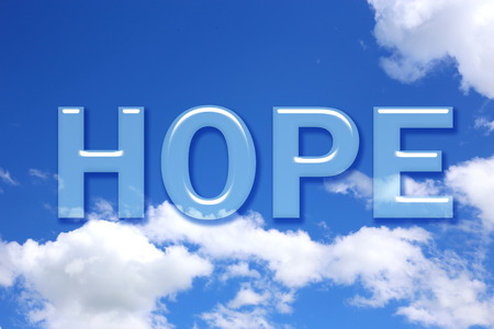 hope: Hope word on blue sky Stock Photo