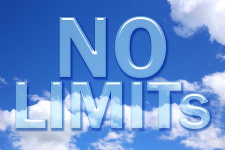 no limits: No limits word on blue sky