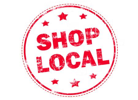 Shop local grunge rubber stamp