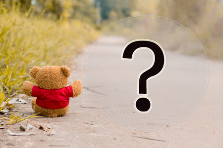 lonely teddy bear with big question mark