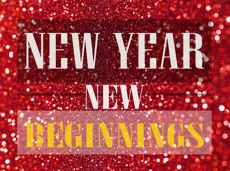 beginnings: Happy New Year card, New Year new beginnings, Loading to new year on glitter bokeh background