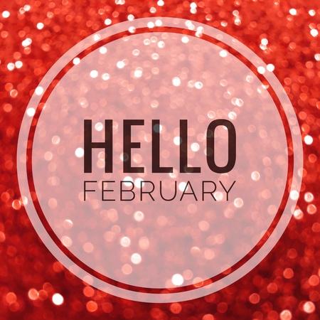 こんにちは 2 月赤い光沢のある輝きの言葉抽象的な背景 写真素材