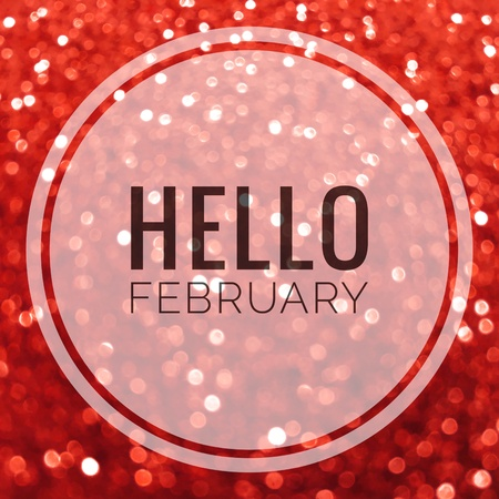 Hello February words on red shiny glitter abstract background Фото со стока
